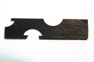 A three-cut template for a ferrule that has an irregular curve.