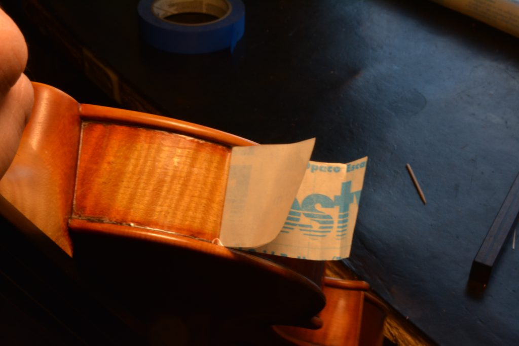 triangle strings | technique article | woodworking | luthier | violin | cello | viola | contact paper | rib protector